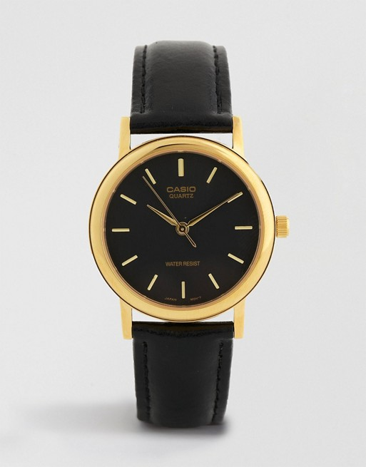 Casio Gold Detail Black Leather Strap Watch MTP1095Q-1A