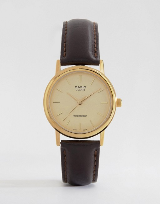 Casio Brown Leather Strap Watch MTP1095Q-9A
