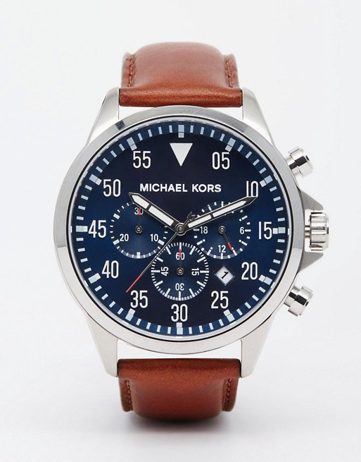 Michael Kors Gage Chronograph Brown Leather Strap Watch MK8362