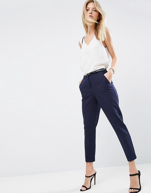 ASOS The Slim Tailored Cigarette Pants With Belt