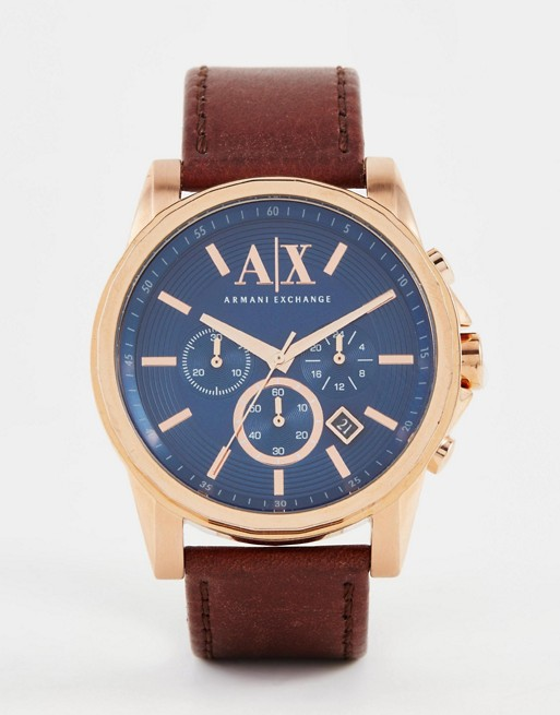 Armani Exchange Chronograph Watch With Leather Strap AX2508