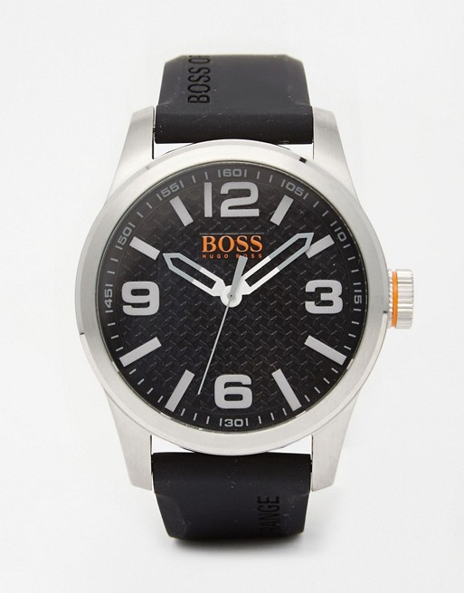 BOSS Orange 1513350 By Hugo Boss Paris Watch With Black Silicone Strap