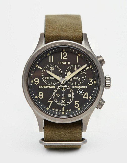 Timex Expedition Scout Chronograph Watch In Green TW4B04100