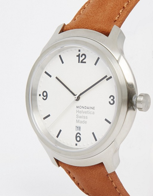 Mondaine Helvetica Bold Leather Watch In Brown 43mm