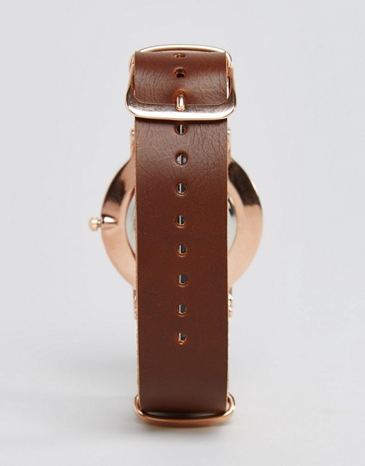 Reclaimed Vintage Inspired Leather Watch In Brown