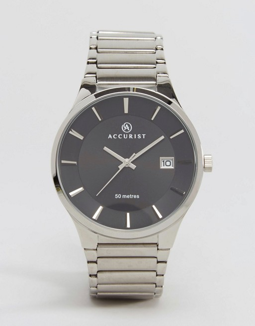 Accurist Silver Bracelet Watch With Black Dial