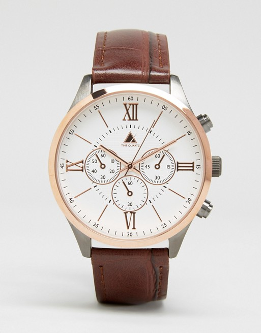 ASOS Watch In Rose Gold Mixed Metal Finish With Brown Croc Strap