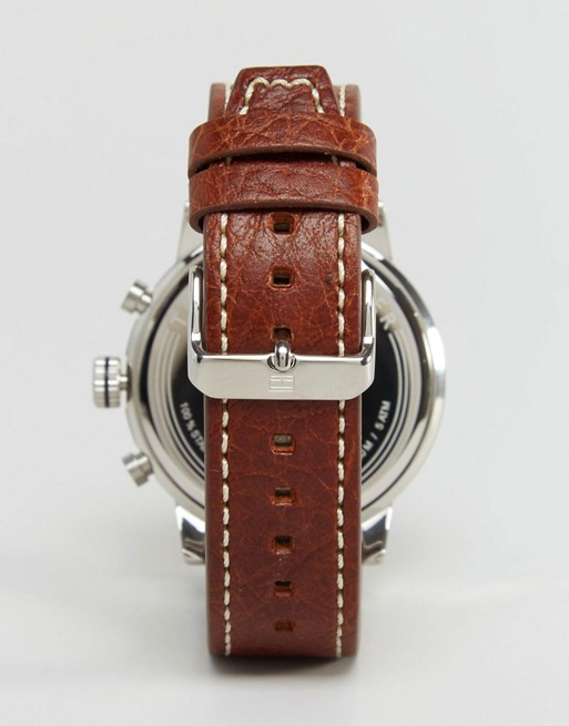 Tommy Hilfiger Jake Chronograph Leather Watch In Brown 1791230