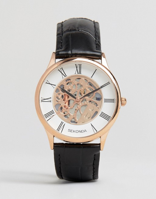 Sekonda Exposed Mechanical Skeleton Leather Watch In Black With Gold Dial Exclusive To ASOS
