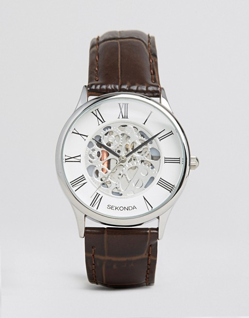 Sekonda Exposed Mechanical Skeleton Leather Watch In Brown Exclusive To ASOS