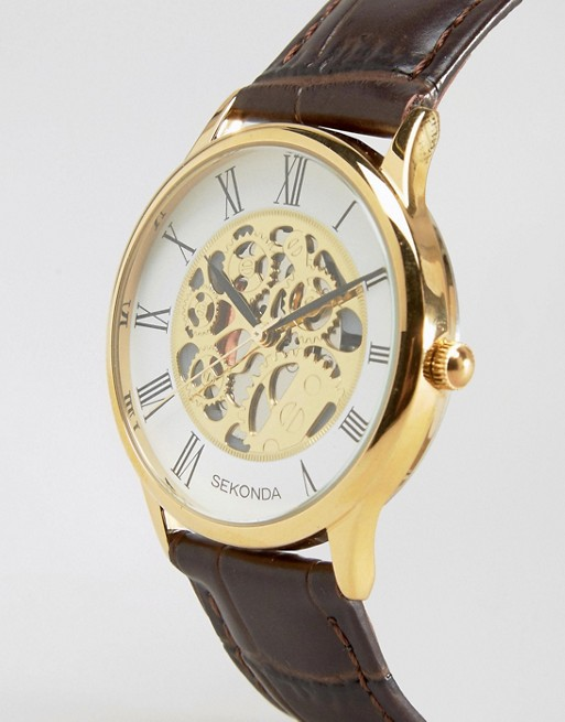 Sekonda Exposed Mechanical Skeleton Croc Leather Watch In Brown With Gold Dial Exclusive To ASOS