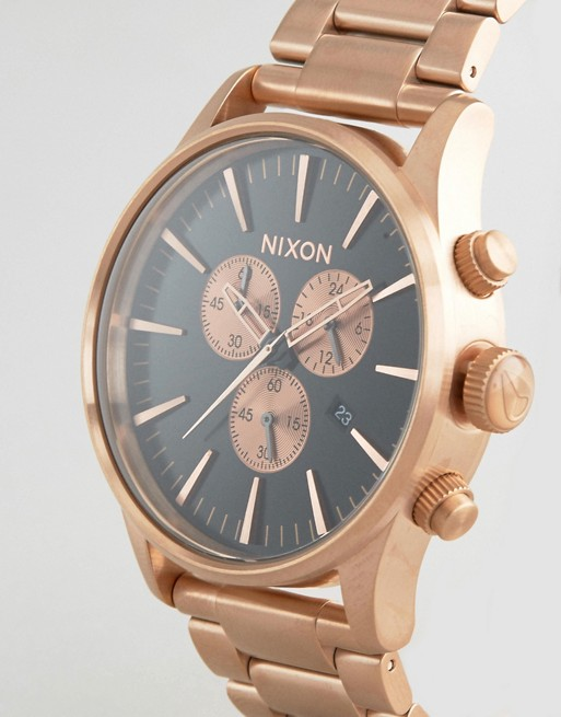 Nixon Sentry Chronograph Watch In Rose Gold