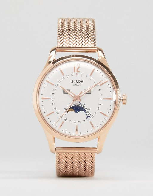 Henry London Richmond Moonphase Rose Gold Mesh Watch With Date