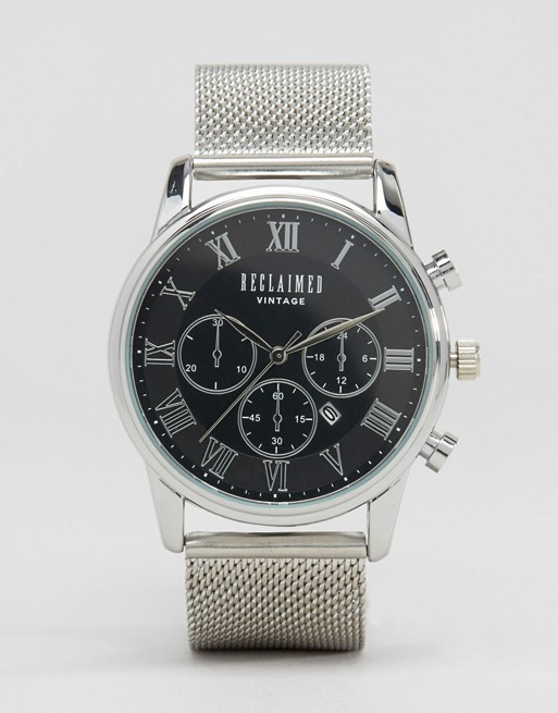 Reclaimed Vintage Inspired Chronograph Mesh Strap Watch In Silver
