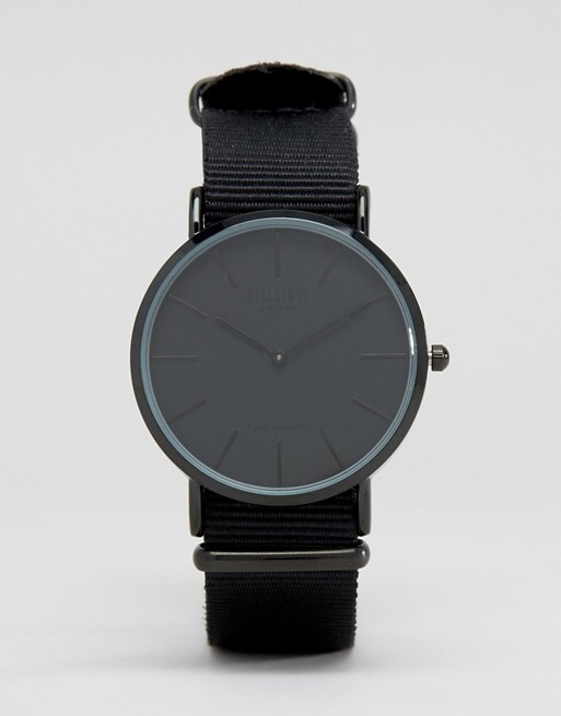Reclaimed Vintage Inspired Canvas Watch In Black