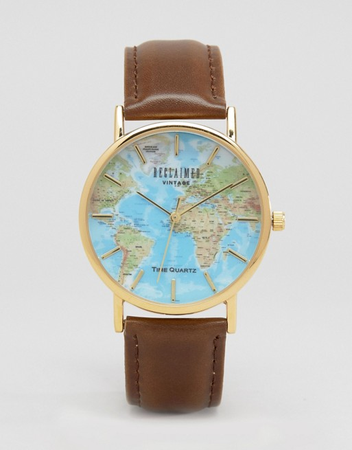 Reclaimed Vintage Inspired Classic Map Print Watch