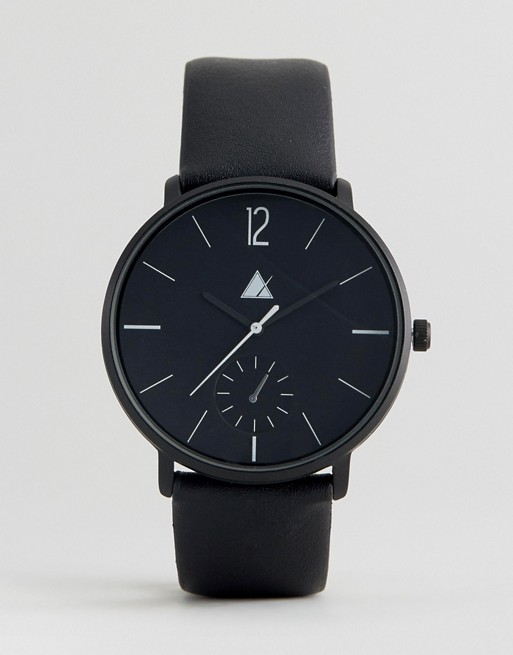 ASOS Monochrome Watch With Black Faux Leather Strap