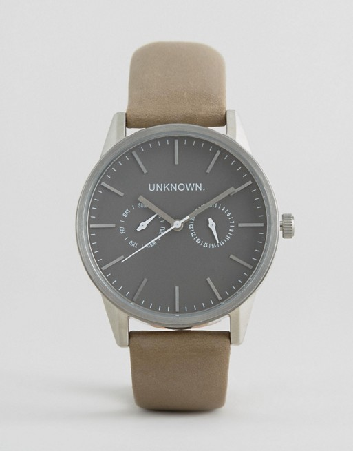 UNKNOWN Engineered Leather Watch In Stone