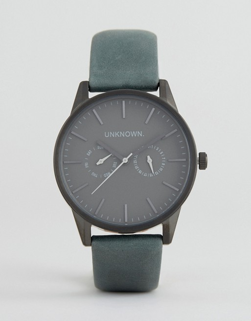 UNKNOWN Engineered Leather Watch In Blue