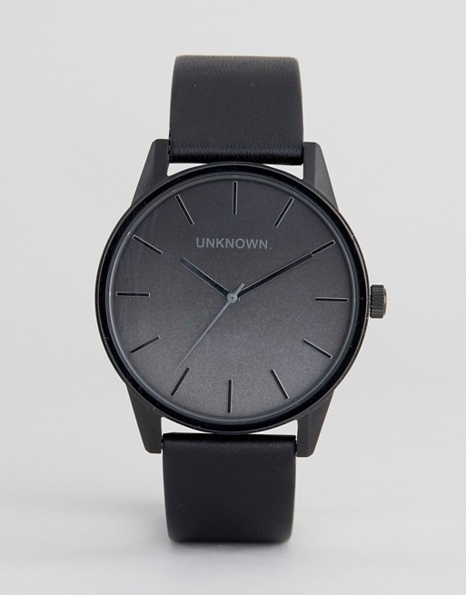 UNKNOWN Urban Ombre Black Leather Strap Watch