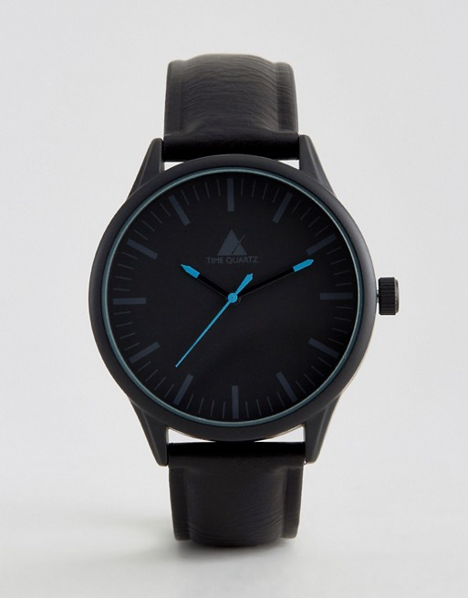 ASOS Watch In Black With Blue Highlights