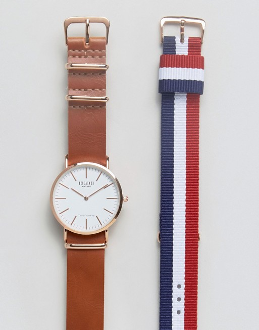 Reclaimed Vintage Inspired Leather & Canvas Interchangeable Strap Watch Gift Set