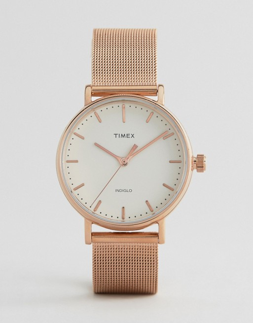 Timex Fairfield 37mm Mesh Watch In Rose Gold