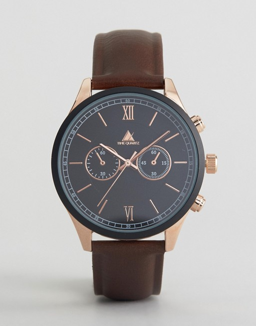 ASOS Watch In Brown With Rose Detail