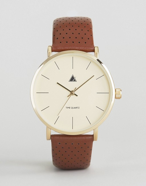 ASOS Leather Watch With Perforated Strap