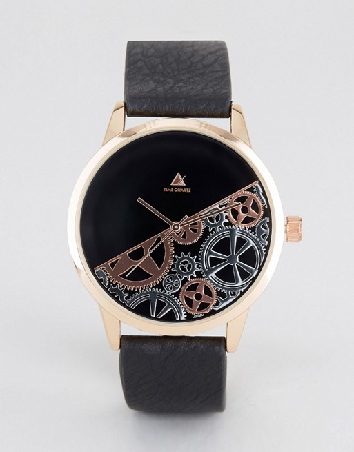 ASOS Watch With Rose Gold And Half Cog Detail