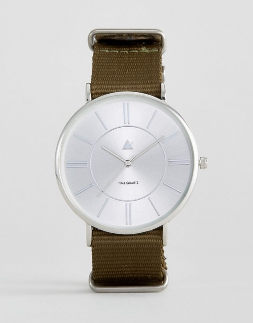 ASOS Watch With Khaki Canvas Strap
