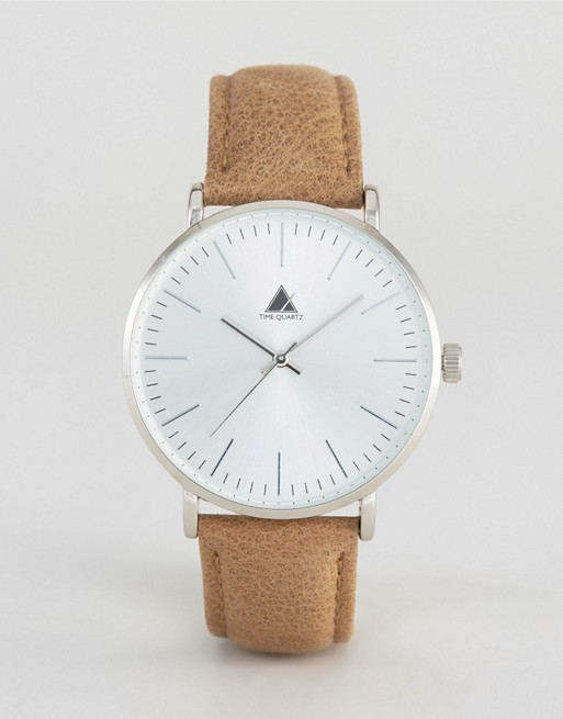 ASOS Watch With Leather Strap In Light Tan
