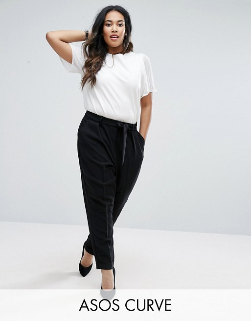 ASOS CURVE Woven Peg Pants with OBI Tie