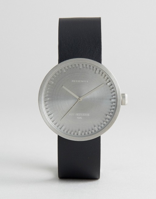 Leff Amsterdam D-Series Leather Watch In Black/Silver 38mm