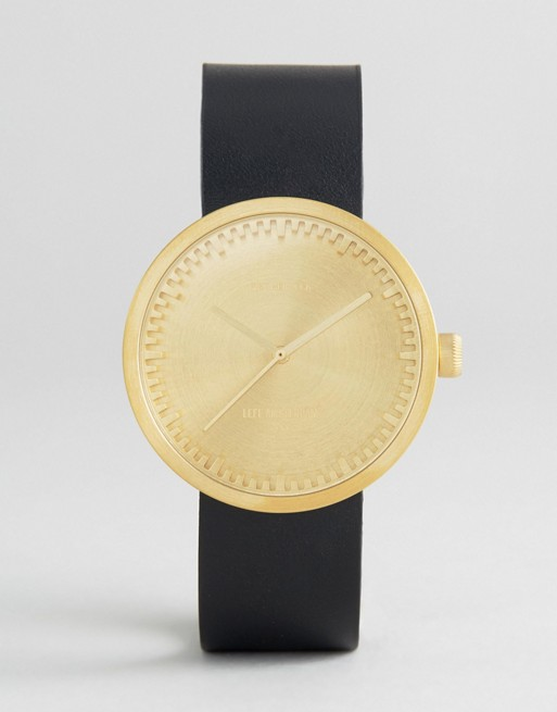 Leff Amsterdam D-Series Leather Watch In Black/Gold 38mm