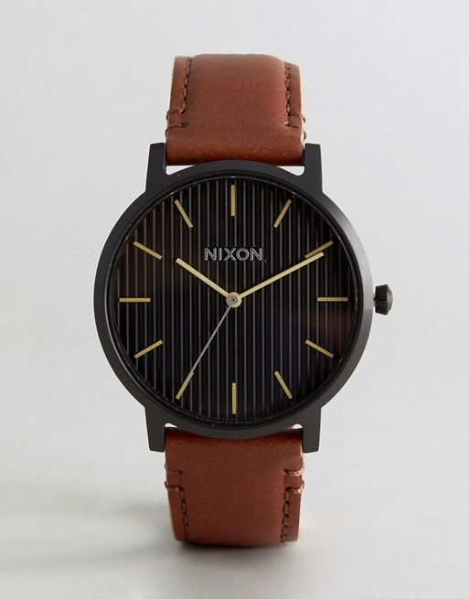 Nixon Porter Leather Watch In Brown