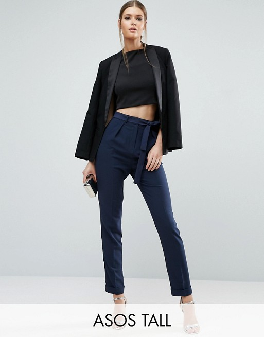 ASOS TALL Woven Peg Pants With Obi Tie