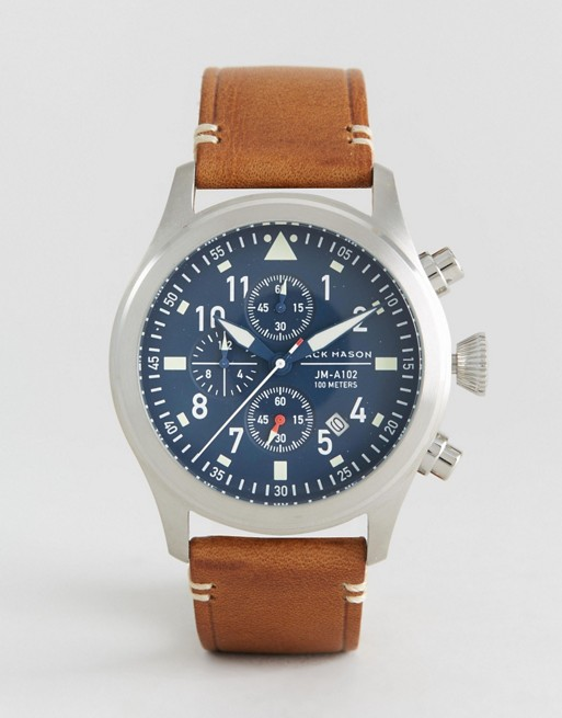 Jack Mason Aviation Chronograph Leather Watch In Brown 42mm
