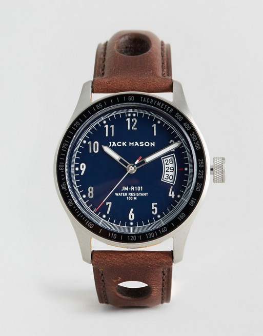 Jack Mason Racing Three Hand Leather Watch With Date 42mm