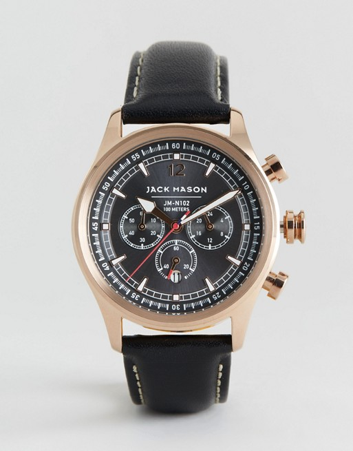 Jack Mason Nautical Chronograph Leather Watch In Black 42mm
