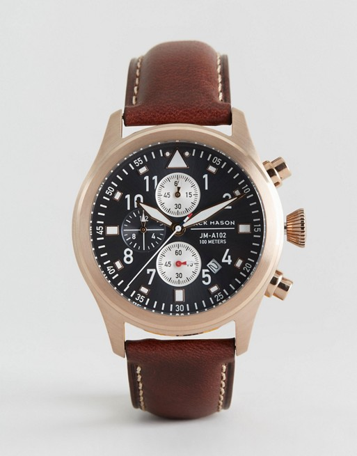 Jack Mason Aviation Chronograph Leather Watch In Brown/Gold 42mm