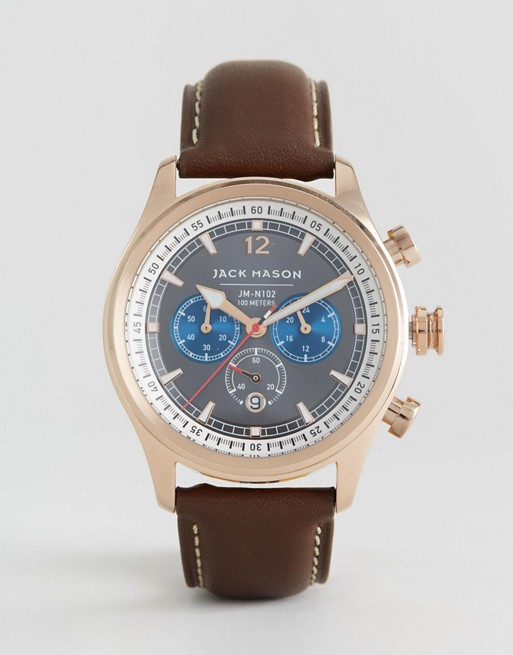 Jack Mason Nautical Chronograph Leather Watch In Brown 42mm