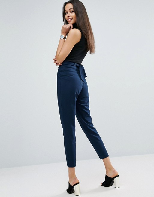 ASOS High Waisted Tie Back Peg Jersey Pants