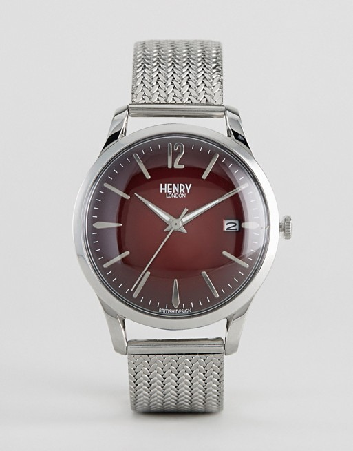 Henry London Chancery Mesh Watch In Silver