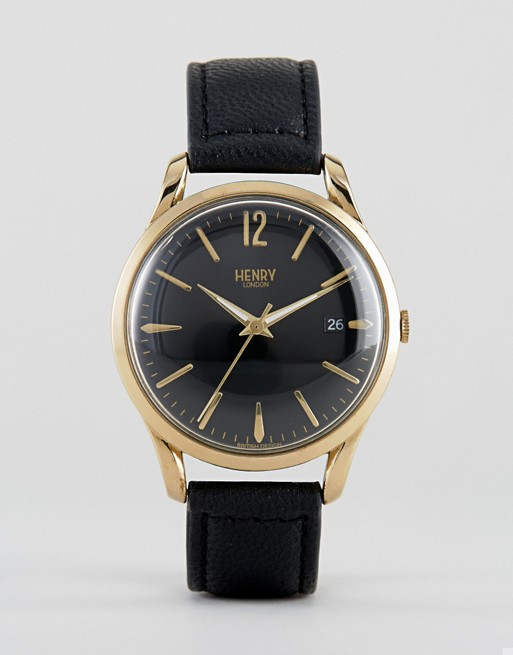 Henry London Westminster Leather Watch In Black
