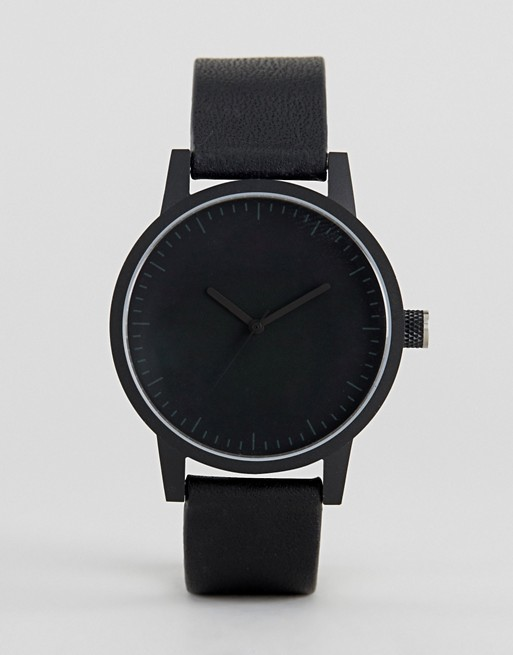 SWCO Kent Leather Watch In Black 38mm