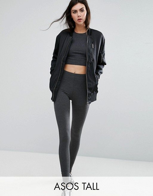 ASOS TALL High Waisted Leggings In Charcoal Marl