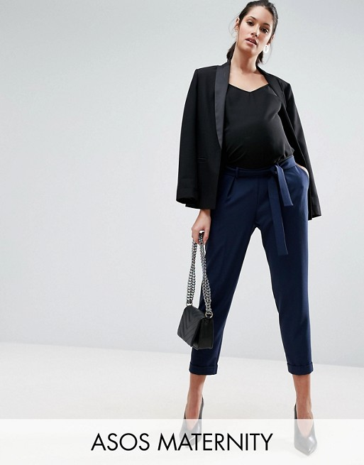 ASOS MATERNITY Woven Peg Pants With Obi Tie