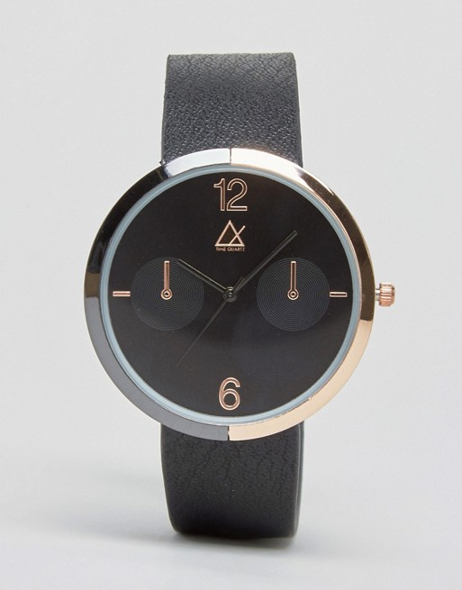 ASOS Watch In Black And Rose Gold With Mixed Metal Case
