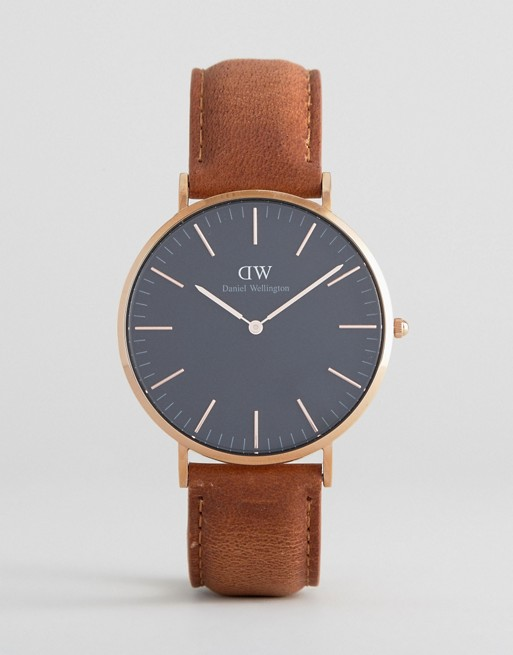 Daniel Wellington Classic Black Durham Leather Watch With Rose Gold Dial 40mm